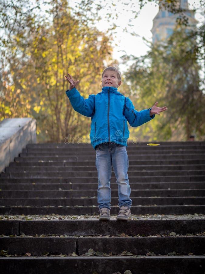 Мальчик бросает листья на шагах в парк осени стоковое фото rf