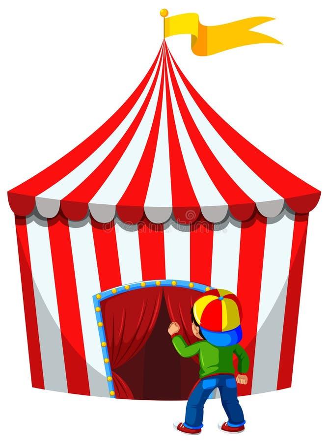 Мальчик входит шатер цирка иллюстрация вектора