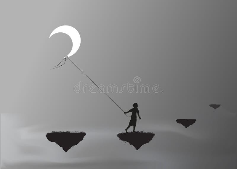Мальчик вытягивая луну и идя на утес летая, крадет луну, страну чудес, мечту, бесплатная иллюстрация