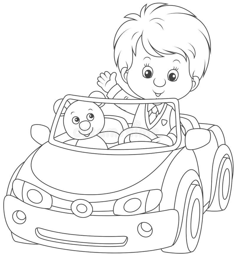 Мальчик в автомобиле игрушки иллюстрация вектора