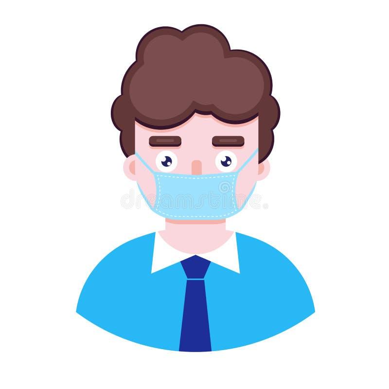 Мальчик в защитной медицинской маске иллюстрация штока