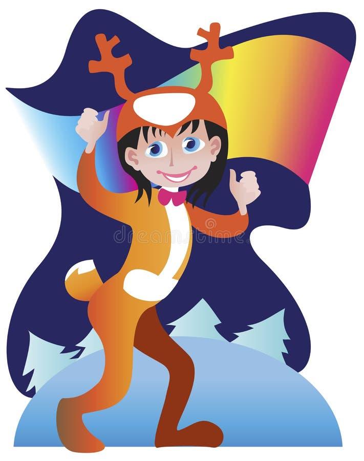 Мальчик в костюме северного оленя для автомобиля рождества иллюстрация штока