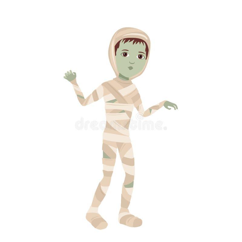 Мальчик в маммином костюме изолирован на белом фоне Ребенок в костюме монстра Хэллоуина Векторная иллюстрация симпатичного страшн бесплатная иллюстрация