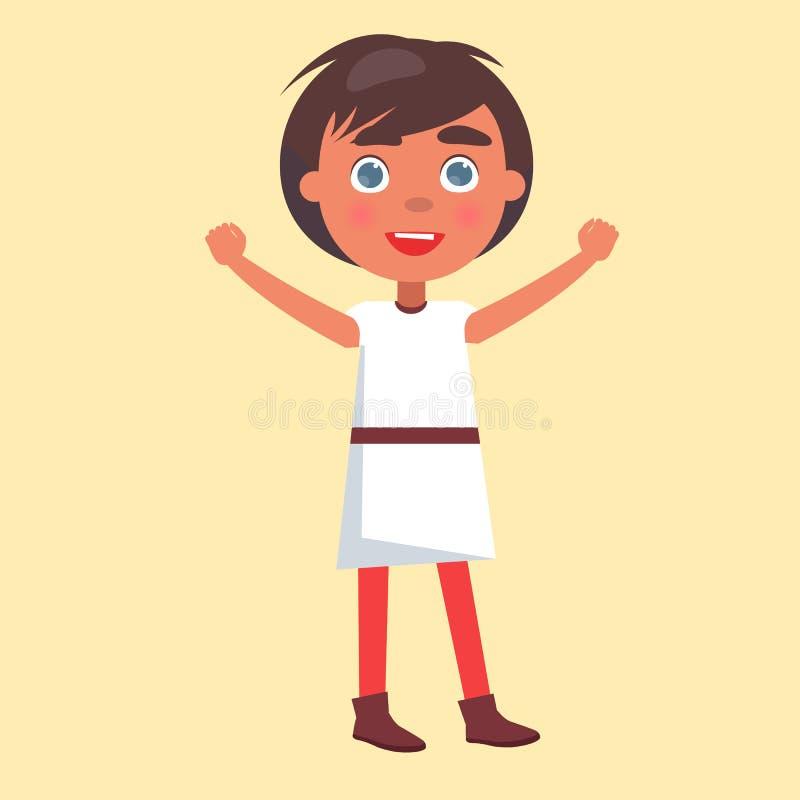 Мальчик в национальной ткани желает день счастливых детей иллюстрация штока