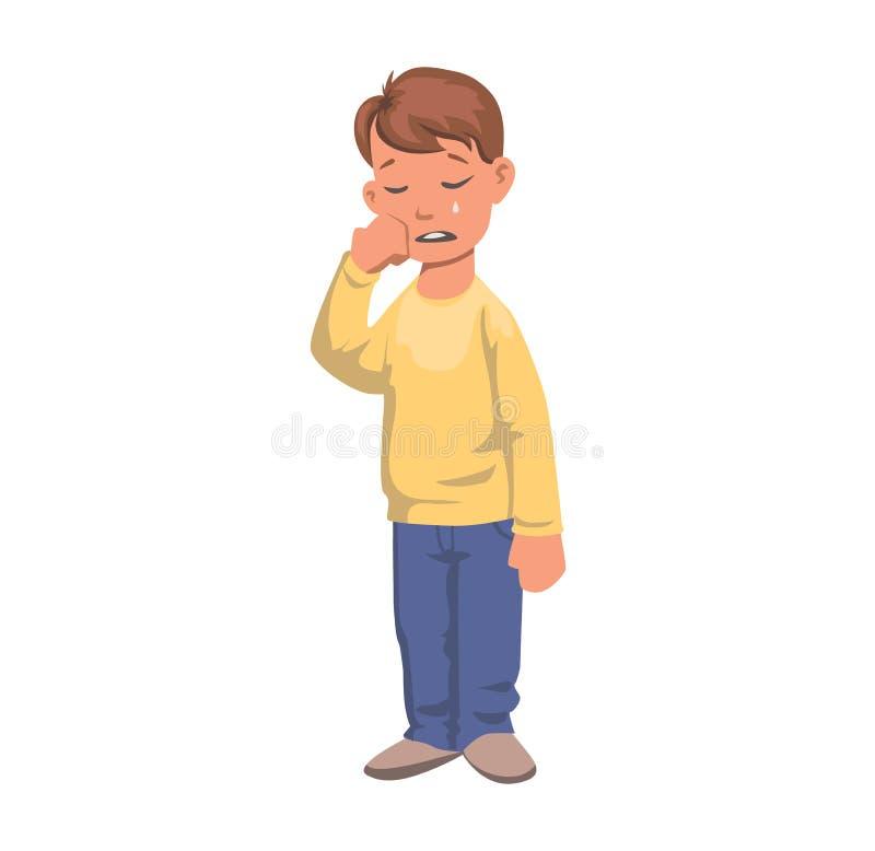 Мальчик в разрывах, плача характер Расстроенный ребенк в желтом свитере Плоская иллюстрация вектора белизна изолированная предпос иллюстрация вектора