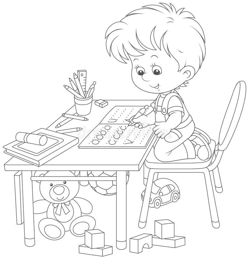 Рисунок мальчик делает уроки за столом