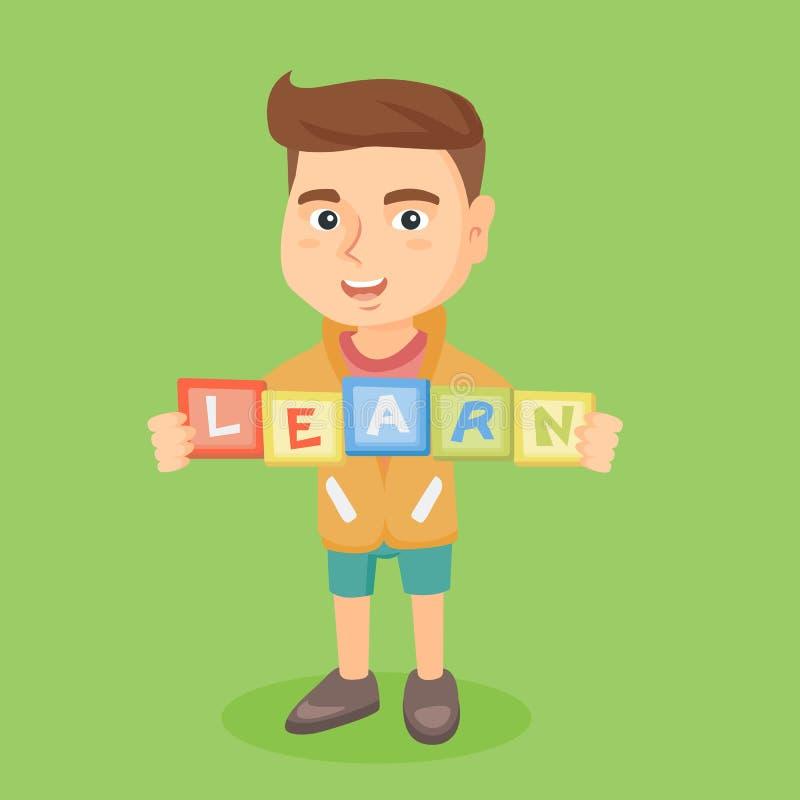Мальчик держа блоки которые говорящ слово по буквам выучите бесплатная иллюстрация
