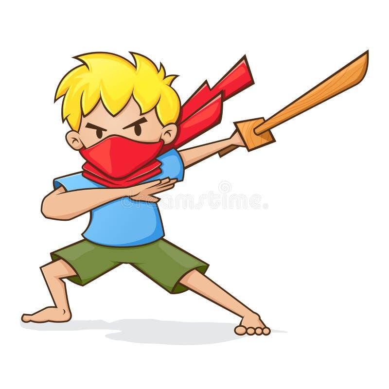 Мальчик держа деревянную шпагу играя Ninja бесплатная иллюстрация