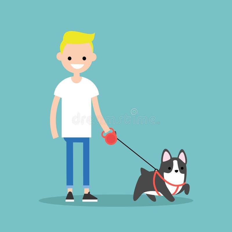 Мальчик детенышей усмехаясь белокурый идя собака/плоско editable вектор i иллюстрация штока