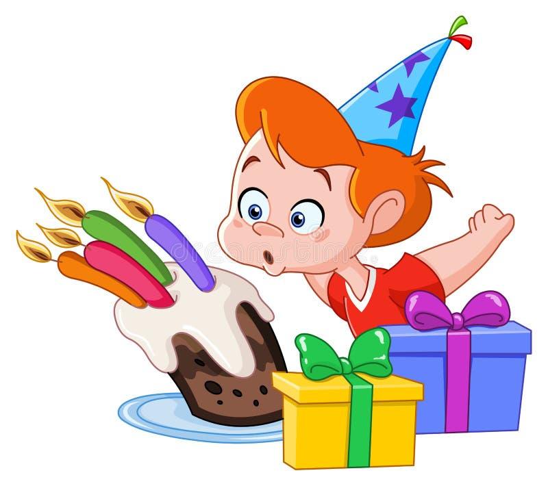 Мальчик дня рождения иллюстрация вектора