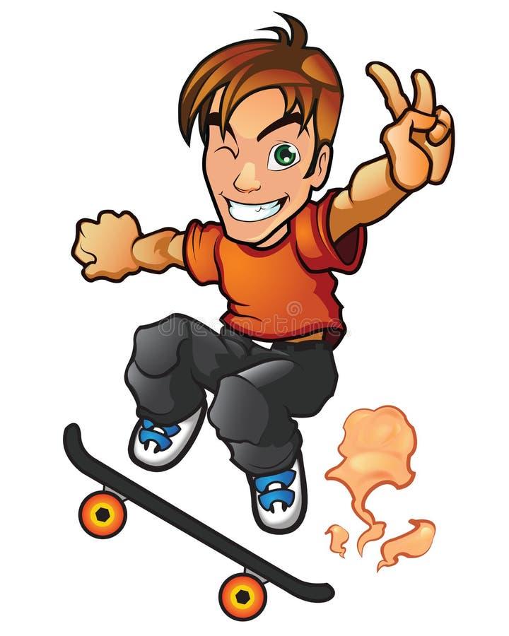 Мальчик доски конька иллюстрация штока