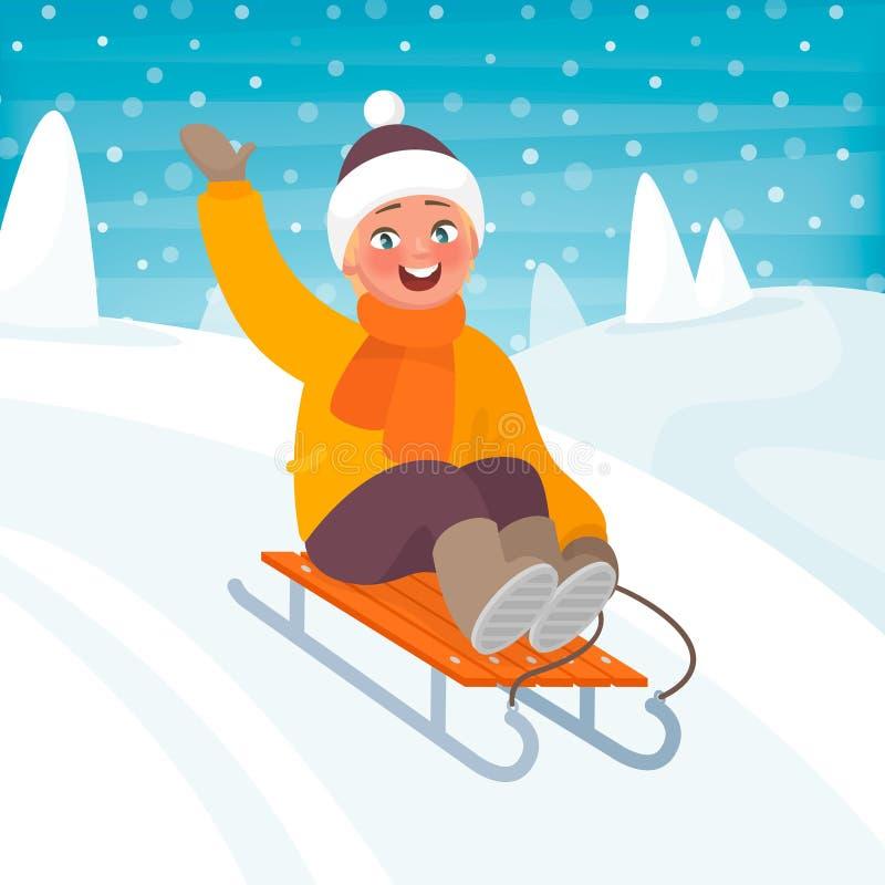 Мальчик едет сани от холма Потеха зимы ` s детей также вектор иллюстрации притяжки corel иллюстрация вектора