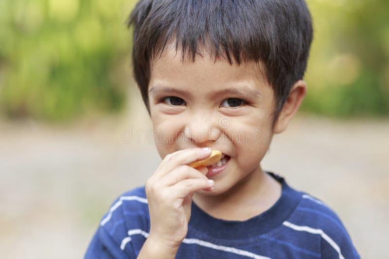 Мальчик есть хрустящую корочку рыб стоковые фото