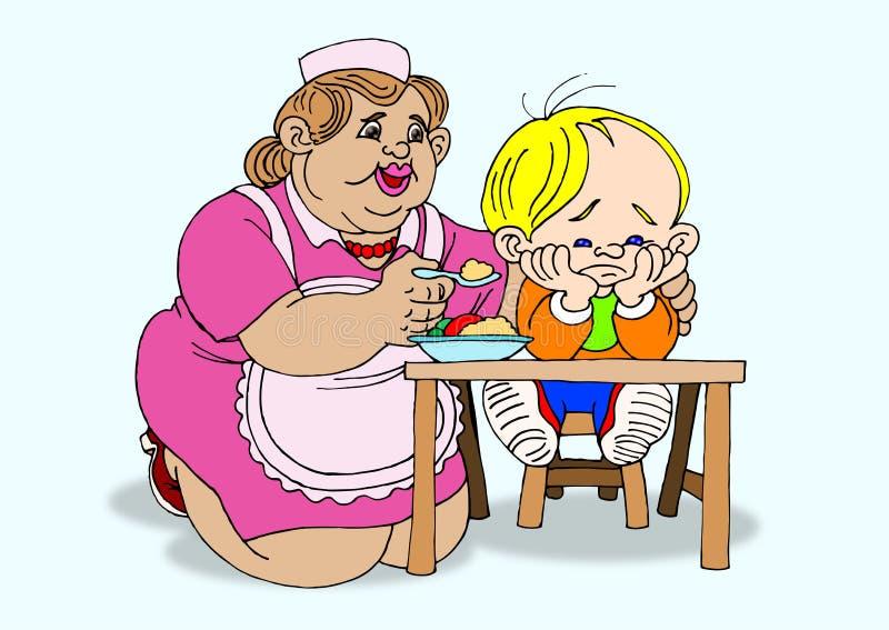 мальчик ест выжимк к иллюстрация вектора