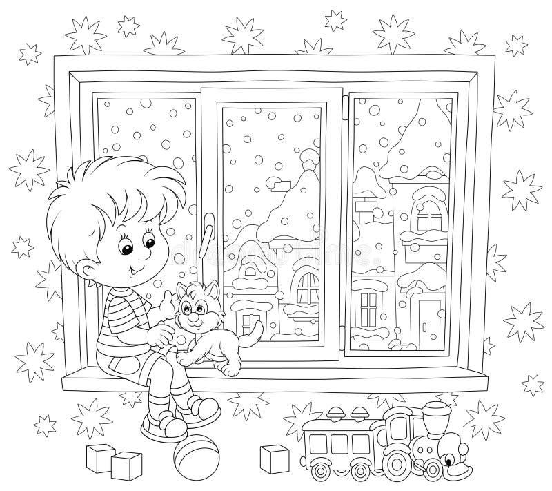 Мальчик играет с котенком иллюстрация штока
