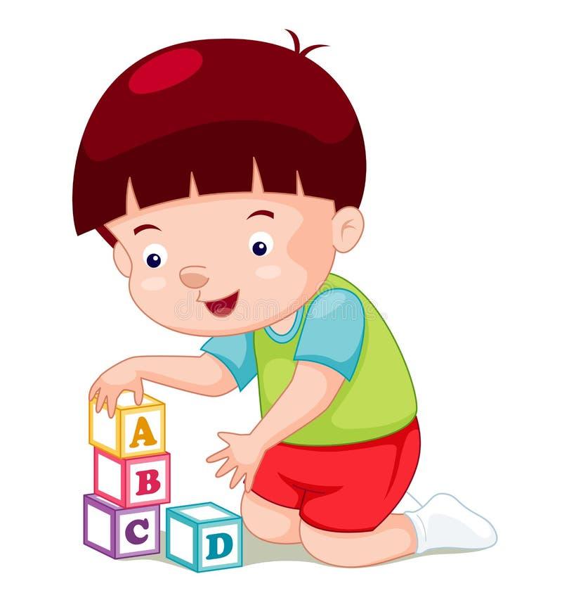 Мальчик играя блоки иллюстрация вектора