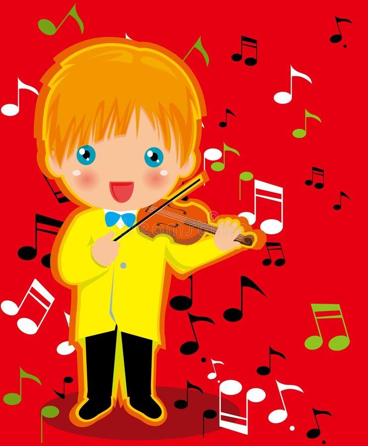 мальчик играя скрипку бесплатная иллюстрация