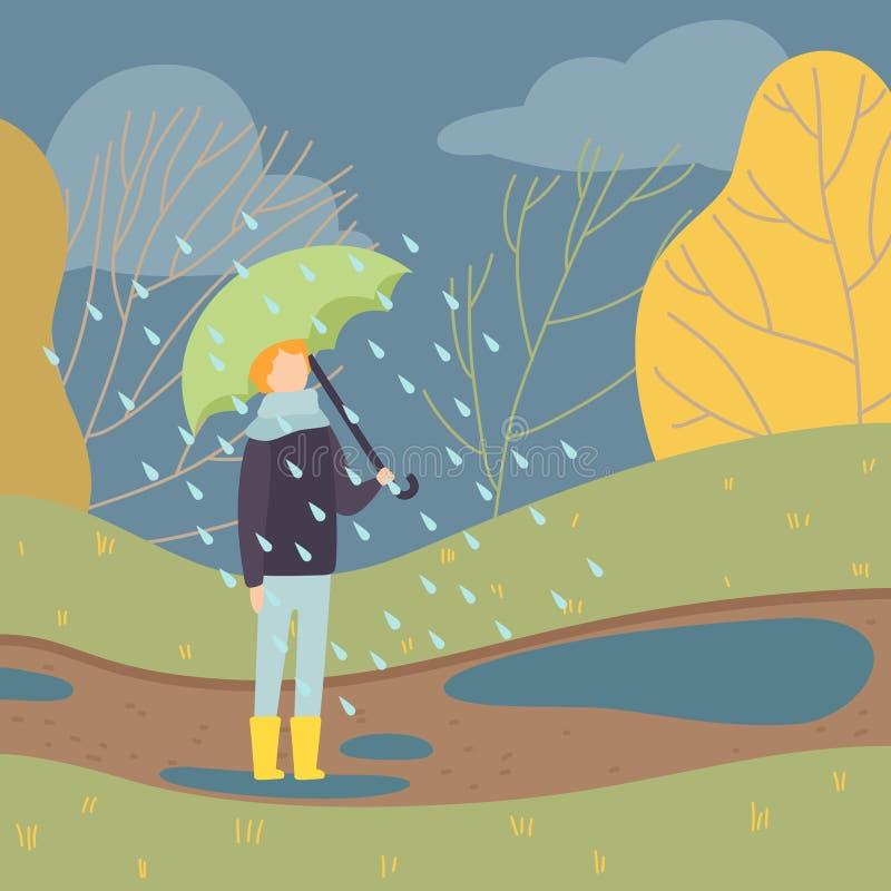 Мальчик идя в дождь под зонтиком, предназначенным для подростков положением мальчика на иллюстрации вектора предпосылки сезона ос бесплатная иллюстрация