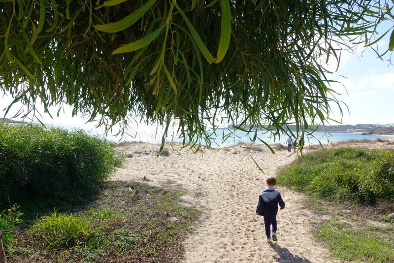 Мальчик идя к пляжу стоковое фото rf