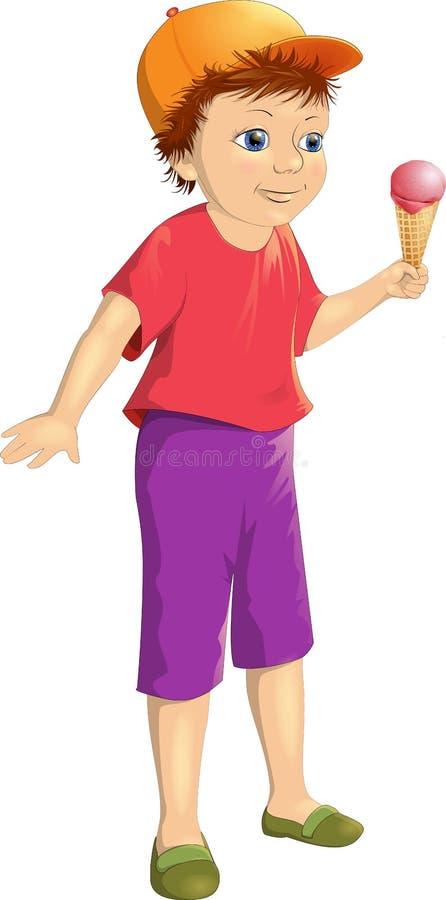 Мальчик иллюстрации вектора усмехаясь счастливый с мороженым бесплатная иллюстрация