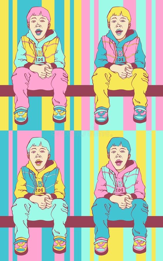 Мальчик искусства попа Крутой маленький парень Ребенок сидит на поперечине Красочная предпосылка в стиле искусства попа ретро шут бесплатная иллюстрация