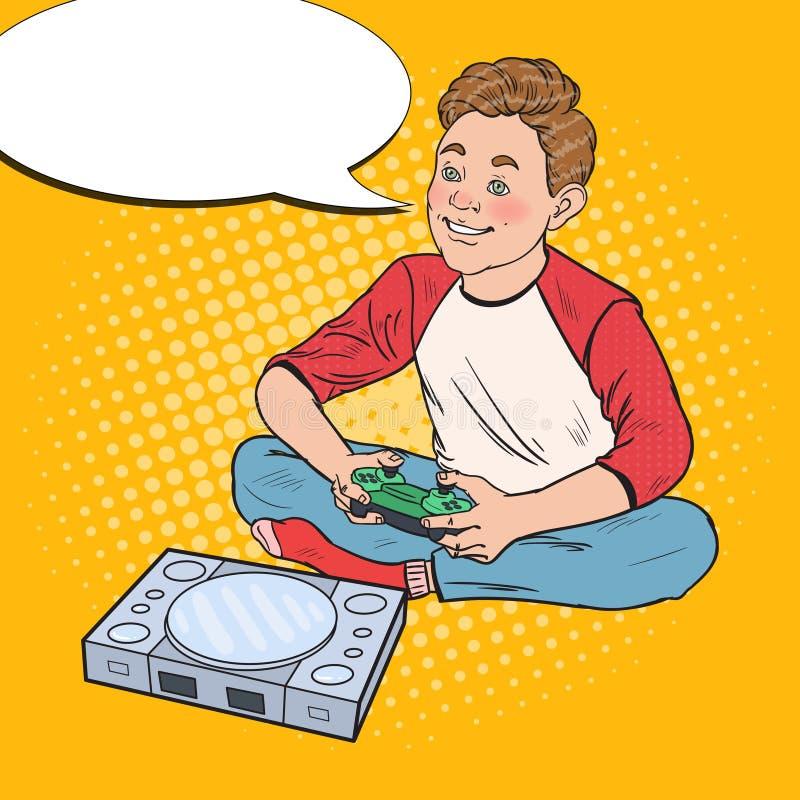 Мальчик искусства шипучки счастливый играя видеоигру Ребенк с консолью управления иллюстрация вектора
