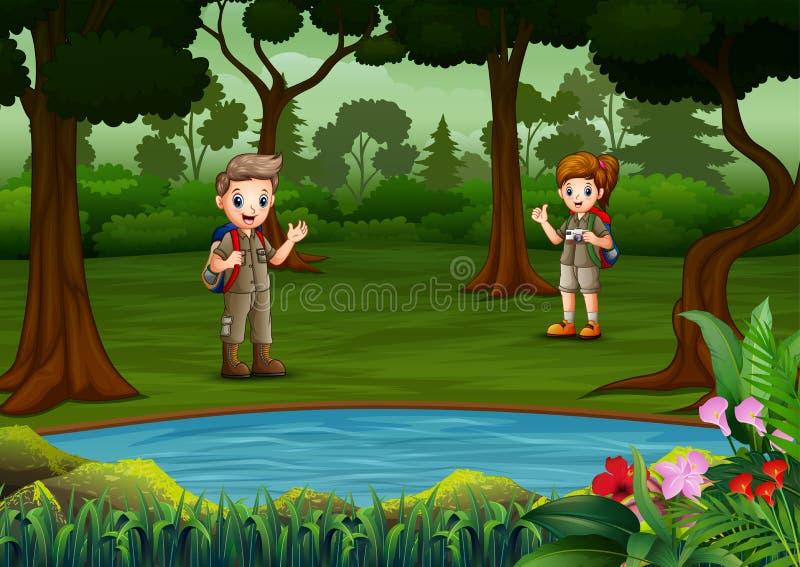 Мальчик и девочка-исследователь отдыхают у озера бесплатная иллюстрация