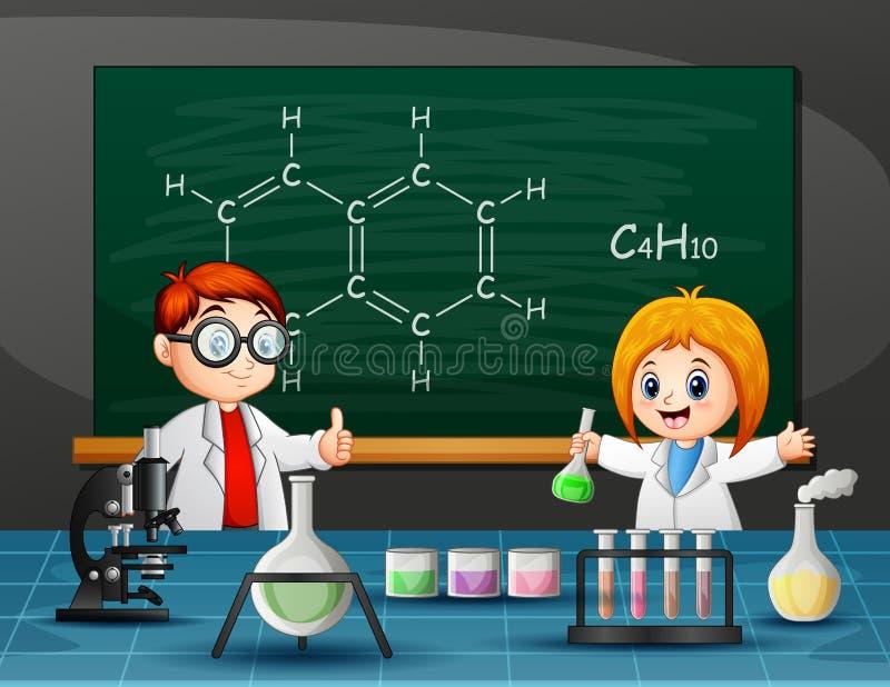 Мальчик и девушка делая химический эксперимент иллюстрация вектора