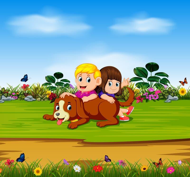 Мальчик и девушка играют с их собакой в саде иллюстрация вектора