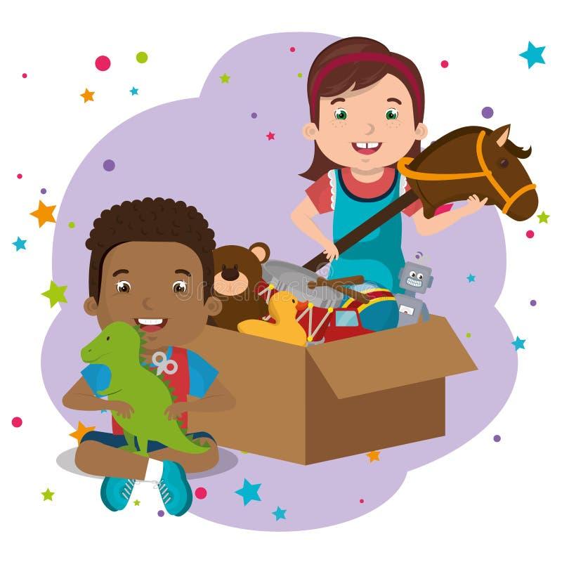 Мальчик и девушка играя с характерами игрушек иллюстрация вектора