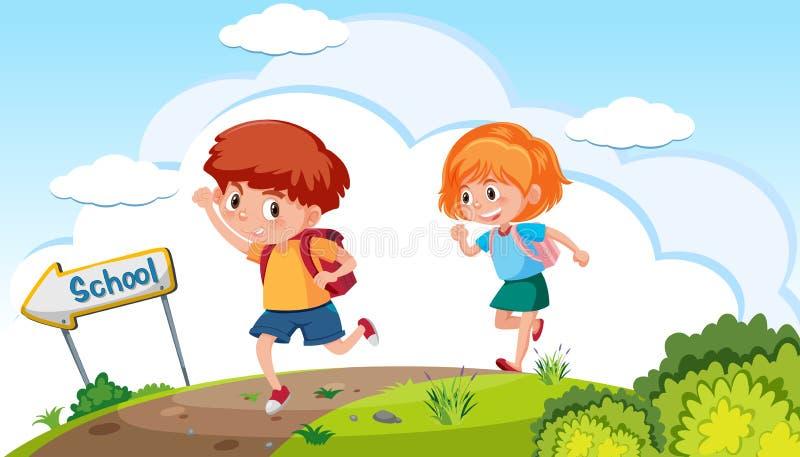 Мальчик и девушка идя к школе иллюстрация вектора