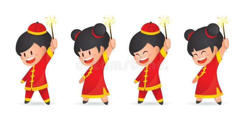 Мальчик и девушка Нового Года милого мультфильма китайский имея потеху с бенгальскими огнями, изолированными на белизне иллюстрация вектора