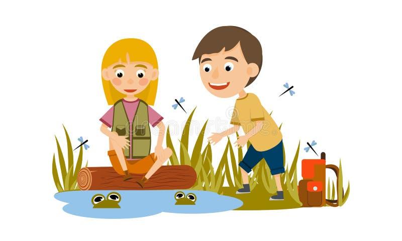 Мальчик и девушка сидят около пруда и наблюдают лягушек Туризм иллюстрация вектора