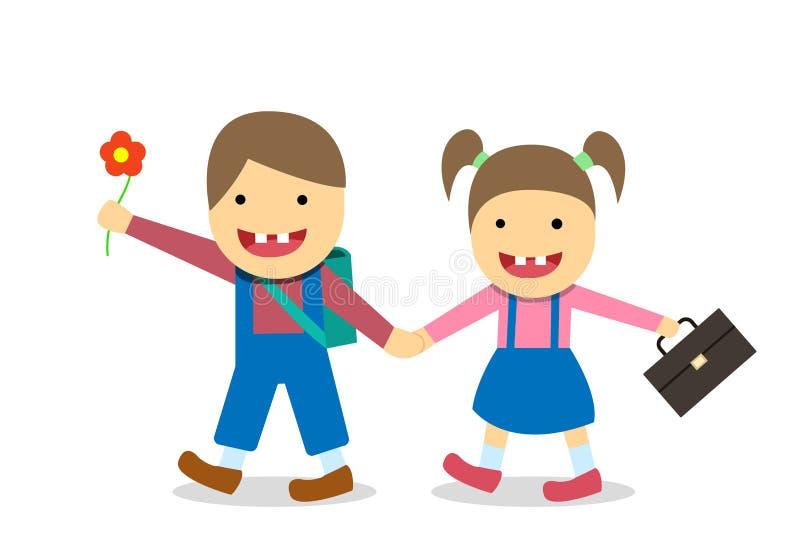 Мальчик и девушка Синдрома Дауна идут к школе, вектору иллюстрация вектора