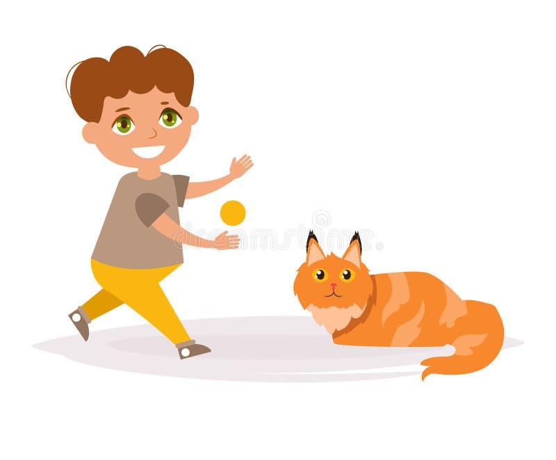 Мальчик и кот Порода енота Мейна иллюстрация вектора
