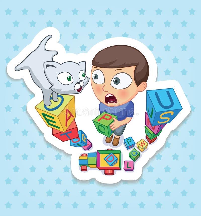 Мальчик и кот Счастливое детство детей Смешные стикеры стоковые изображения rf