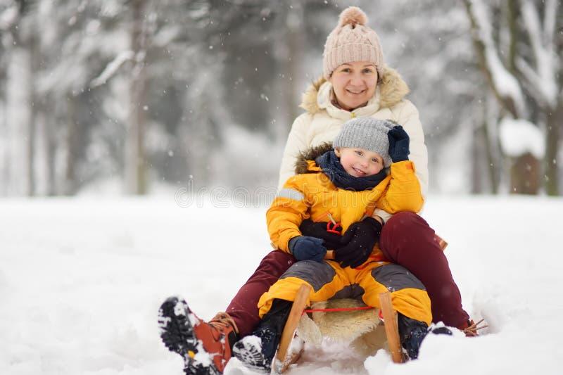Мальчик и мать/бабушка/няня сползая в парк во время снежности стоковое изображение rf