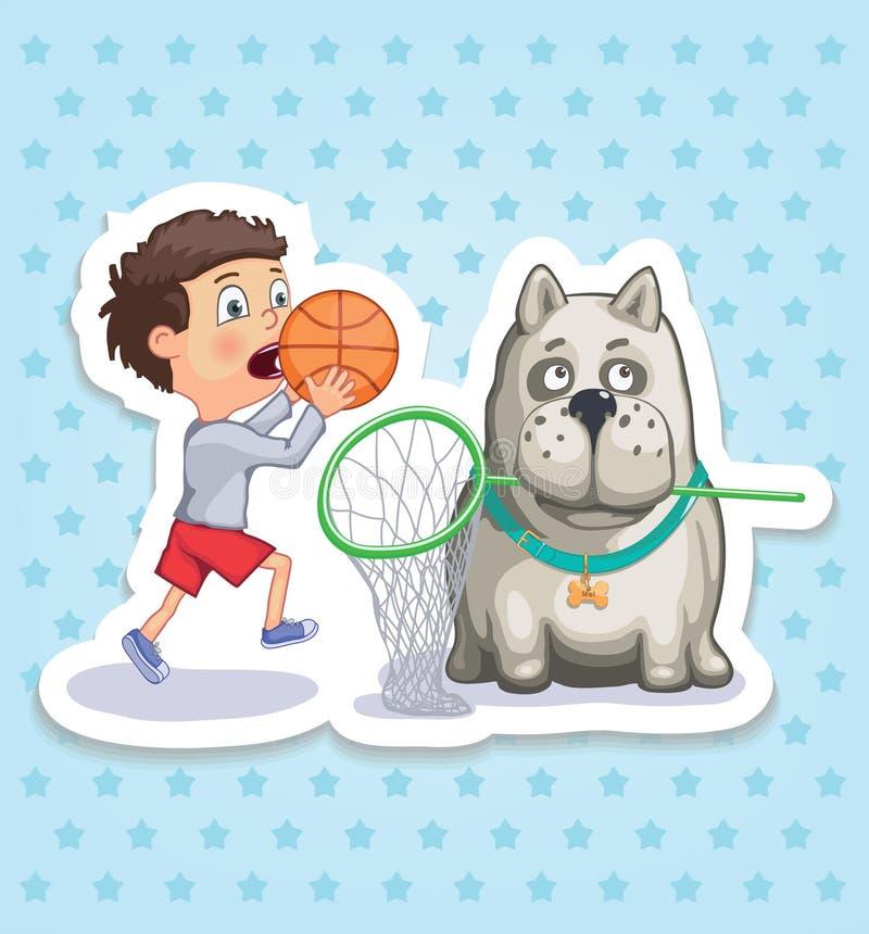 Мальчик и собака Счастливое детство детей Смешные стикеры стоковое изображение rf
