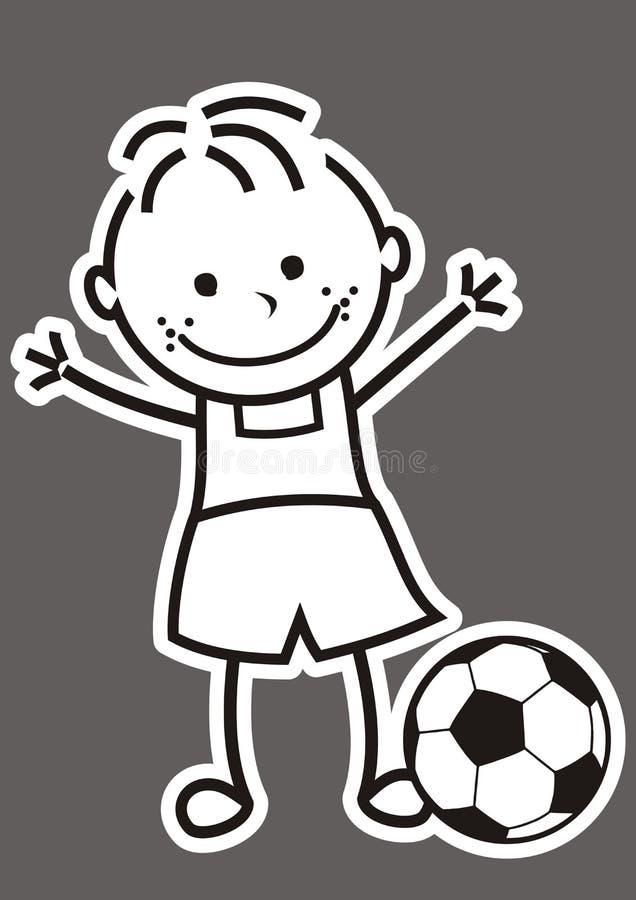 Мальчик и футбольный мяч иллюстрация штока