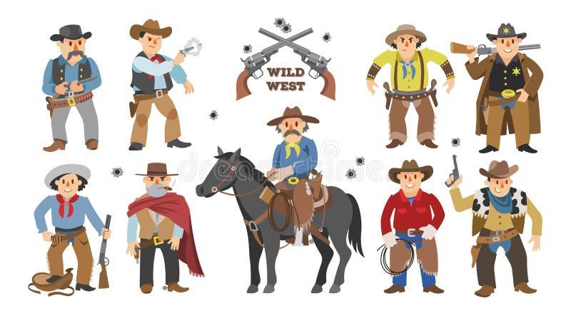 Мальчик коровы вектора ковбоя западный на одичало характере лошади для родео и шерифа Диких Западов в комплекте живой природы илл бесплатная иллюстрация
