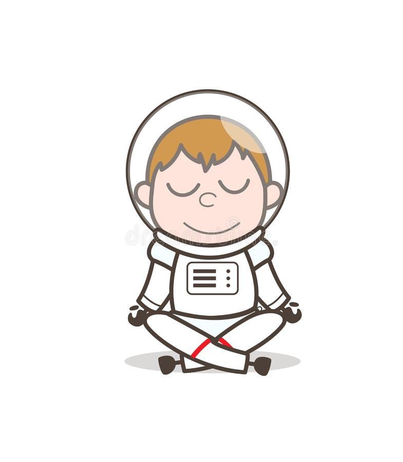 Мальчик космоса шаржа делая векторную графику йоги иллюстрация штока