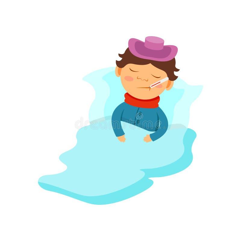 Мальчик лежа под одеялом с пузырем со льдом на его голове и термометре в его рте, ребенк уловил иллюстрацию вектора гриппа иллюстрация штока