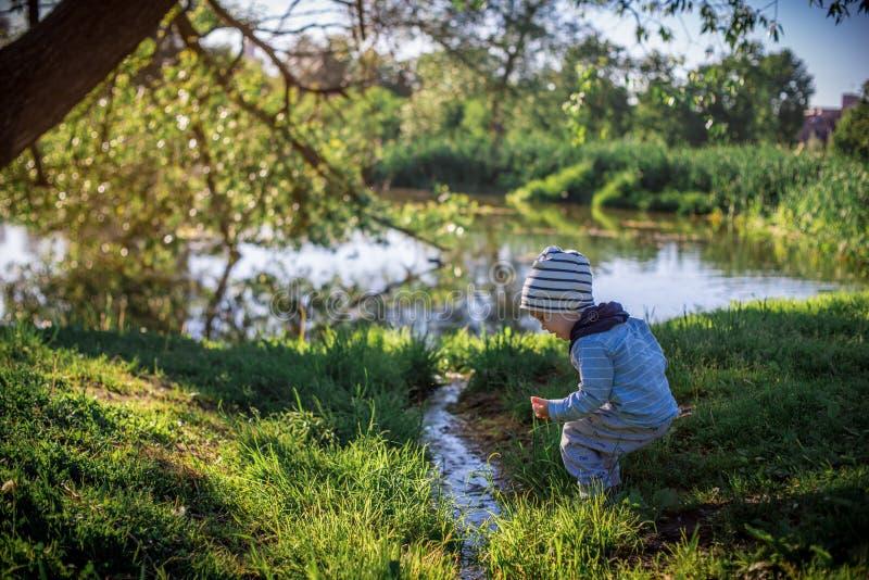 Мальчик малыша в природе около воды стоковая фотография rf