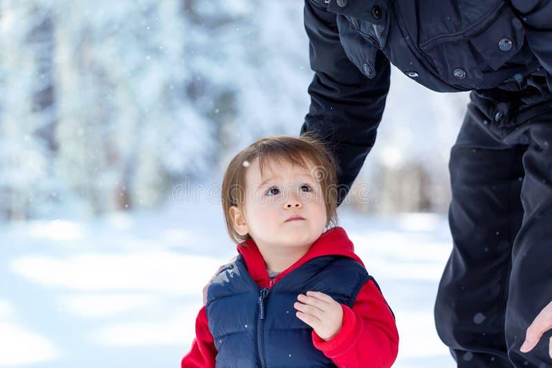 Мальчик малыша играя в снеге стоковые изображения