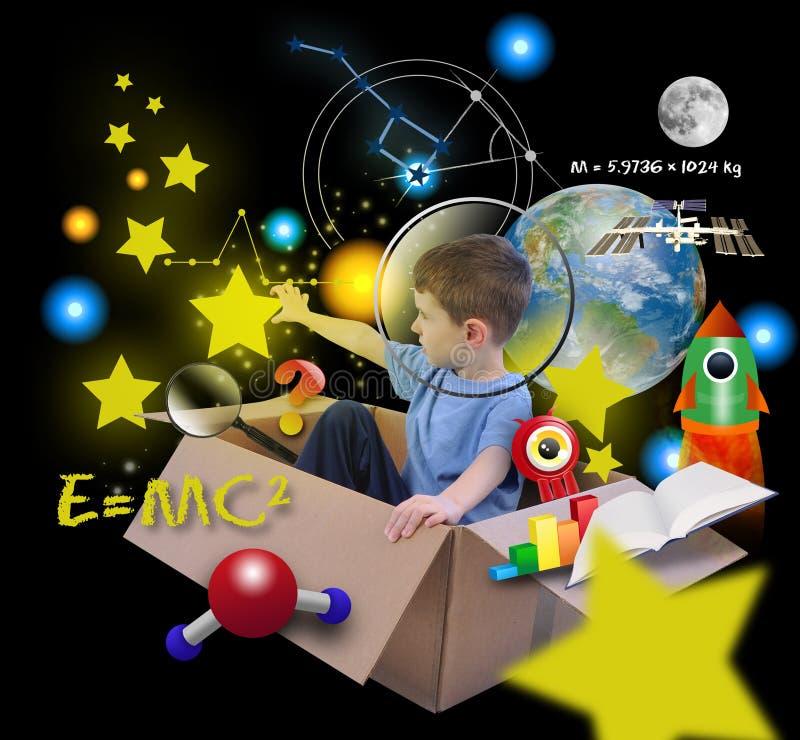 Мальчик науки о космосе в коробке с звездами на черноте стоковое фото rf