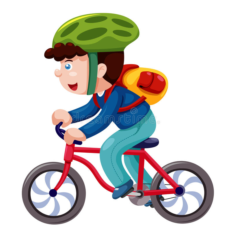 Мальчик на велосипеде   иллюстрация штока