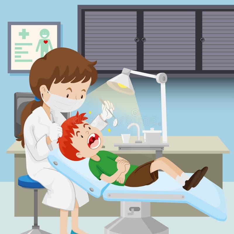 Мальчик на зубоврачебной клинике иллюстрация штока