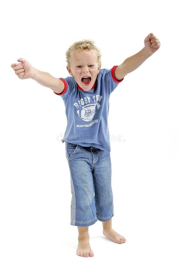 мальчик немногая screaming стоковое фото