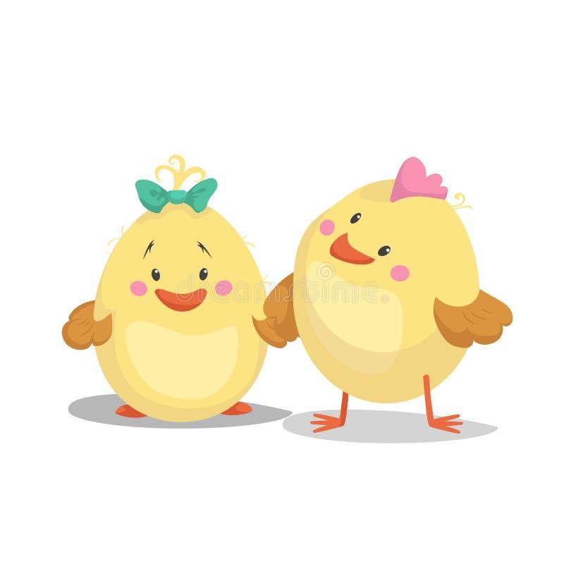 Мальчик новорожденного цыпленка и цыпленок девушки Весна дизайна шаржа плоско ультрамодная и младенец новорожденного бесплатная иллюстрация