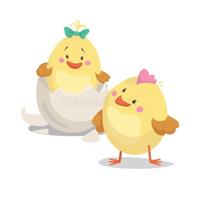 Мальчик новорожденного цыпленка и цыпленок девушки в насиженном яичке Весна дизайна шаржа плоско ультрамодная и младенец новорожд иллюстрация штока